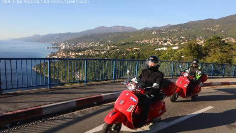 Vespa 300GSs above Opatija on Croatia by Scooter tour with Edwelweiss Bike Travel; copyright Christopher P Baker