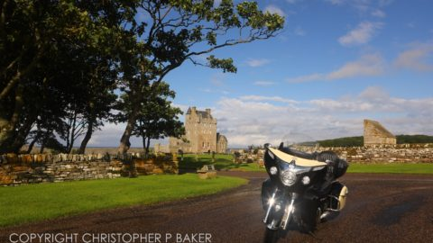 2017 Indian Roadmaster at 15th-century Ackergill Tower luxury hotel, near Wick, Scotland; copyright Christopher P Baker
