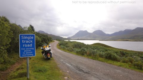 Passing Place on single track road by Loch Bad a'Ghaill, southern Assynt Peninsula, Scotland; copyright Christopher P Baker
