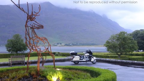 2017 Indian Roadmaster and view over Loch Torridon from The Torridon luxury hotel, Torridon, Scotland; copyright Christopher P Baker