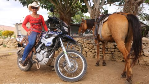 Cowgirl on BMW F800GS near Trinidad, Cuba; copyright Christopher P Baker