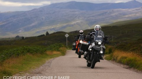 Motorcyclists riding south on the A838 on the NC500 route, Scotland; copyright Christopher P Baker